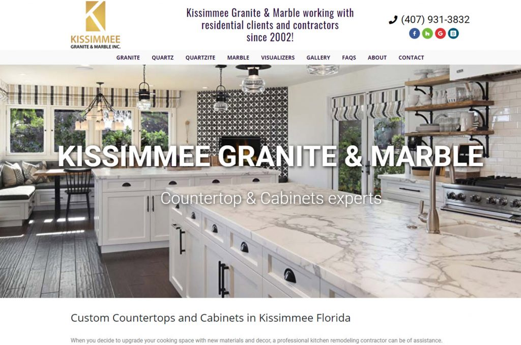 custom wordpress website countertop fabricator in kissimmee florida